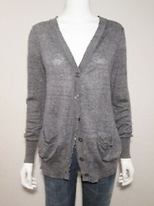 DKNY Pure 100% Linen Size S *M Button Front V Neck Cardigan Sweater Pockets Gray