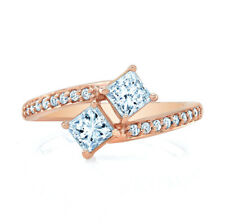 0.98 TCW 2 Stone Diamond Bypass Ring In 14k Rose Gold