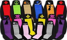 Design your own seat covers , logo, name, insignia, sport, animals etc