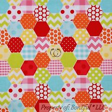 BonEful Fabric Cotton Flannel Rainbow Color White Stripe Dot Chevron Retro SCRAP