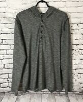 Express Mens Hooded Henley Long Sleeve Men's Size Large