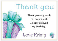 10 Personalised THANK YOU CARDS  & envelopes, thank girl birthday party  PRESENT