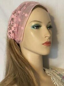 Pink Embroidered Headband Headcovering Women Head Band Tichel Headwrap Veil