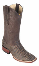 LOS ALTOS BROWN GENUINE CROCODILE CAIMAN SQUARE TOE WESTERN COWBOY BOOT EE