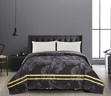 Luxury Yellow Grey Leaf Super King Size Bedspread Reversible Comforter 260x280cm