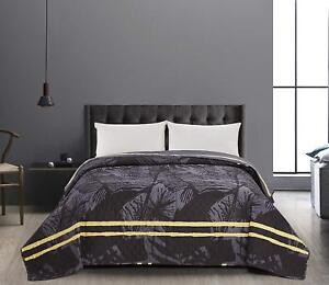 Luxury Grey Leafs Super King Size Bedspread Reversible Comforter Throw 260x280cm