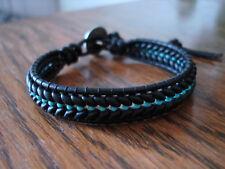 Herringbone Black & Turquoise Glass Czech Handmade Beaded Leather Wrap Bracelet