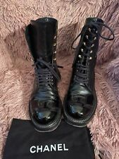 Chanel Black Combat Patent Leather Cc Eagle Cap Toe Boots Booties