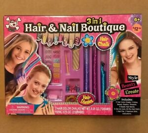 3 in 1 Hair and Nail Boutique new chalks beads curls nail PINKY SKULL 2013 TOY