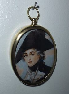 Portrait Miniature of fresh faced midshipman in hat with cockade in brass frame