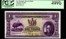 """NEW ZEALAND P155 1 POUND 1934 """"CHIEF MAORI"""" PCGS 45PPQ RARE! DODO BIRD KIWI"""