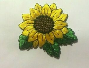 """Sunflower Patch sunflower iron or sew on patch sun flower patch 2.5"""" wide"""