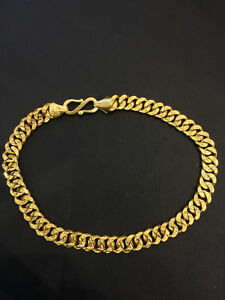 Vintage Dubai Handmade Unisex Link Chain Bracelet In 916 Solid 22K Yellow Gold