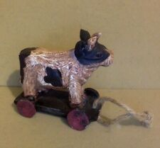 Vintage Pull Toy. Cow with Horns on a Wagon. Painted Wood. No Turn Wheels.
