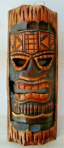 "TIKI MASK WOOD 12"" HAWAIIAN AFRICAN HOME DECOR TRIBAL BAR TROPICAL POLYNESIAN"