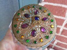 VINTAGE HEISEY GLASS JEWELED LID CZECH STYLE VANITY BOX POWDER DRESSER JAR