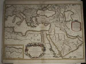 MEDITERRANEAN SEA MIDDLE EAST ARABIA 1708 SANSON/JAILLOT UNUSUAL ANTIQUE MAP