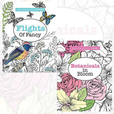 Really RELAXING Colouring 2 Books Set Botanicals in Bloom & Flights Of Fancy NEW
