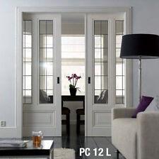 Pocket Doors interior Genuine Leaded  Glass Panels Raised bottom panel