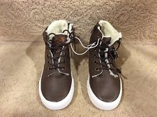 Boy High Top Sneaker Boots Brown Lace Faux Sherpa Lining Synthetic Leather - Y1