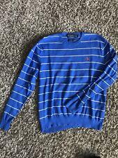 Polo Ralph Lauren Mens Sweatshirt Blue White Striped Crewneck Sweater Medium M
