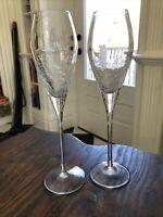 Pier 1 REFLECTIONS CRACKLE 2 Champagne Flutes, Mint CONDITION