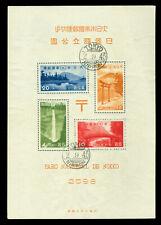 """JAPAN 1938 NIKKO NATIONAL PARK - BLOCK  S/S  w/folder Sk# P9 used """"TOKYO"""" cxl"""