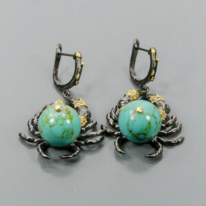 One of a kind Turquoise Earrings Silver 925 Sterling   /E57786