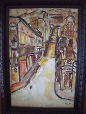 """ABSTRACT """"STREET VIEW YELLOW"""" OIL ON CANVAS 1951 PARIS"""