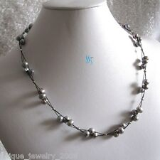 "20"" 6-8mm 3Row Dark Gray Freshwater Pearl Necklace Black Wire Necklace"