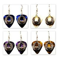 Heart with Wings Charm Guitar Pick Earrings - Choose Color - Handmade in USA