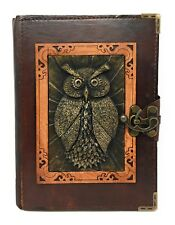 Handmade Genuine Leather Refillable Journal Diary Note Sketch Book Brown Owl