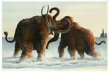 Wooly Mammoths in Snow, Prehistoric Elephant Relative --- Modern Animal Postcard