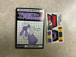 Vintage G1 Transformers Booklet Unused Decals Sticker Sheet 1987 BATTLETRAP
