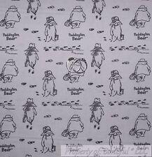 BonEful Fabric FQ Cotton Quilt Gray Toile Paddington Bear Baby Boy Girl S Stripe