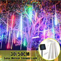 50CM Solar LED Meteor Shower Falling Rain Drop Icicle Xmas Tree String