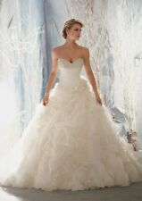 Morilee 1965 Bridal Wedding Dress Crystal Beaded Organza Ruffles Ball Gown White