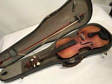ANTIQUE UNMARKED VIOLIN 4/4 WITH CASE & BOW ESTATE SALE FIND