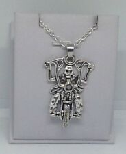 Big, SKULL Man on MOTORCYCLE, Harley, Pendant & .925 Necklace - R731