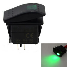 Car Boat 5Pcs 4Pin Waterproof 12V 20A Bar Rocker Toggle Switch Green LED Light