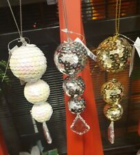 CRYSTAL HANGING DROPLET PENDANT CHRISTMAS TREE DECORATION XMAS ORNAMENT BAUBLE