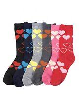 6 Pairs Women Comfort Socks Girls VALENTIN Pattern Long Crew Pack 9-11 Lot