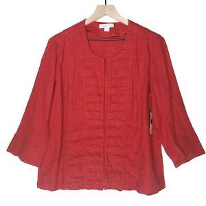 NWT Coldwater Creek Crescent Tuck Linen Blend Jacket 12 Red