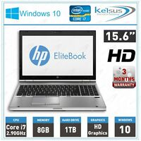 "HP Elitebook 8570P 15.6"" Laptop Core i7-3520M 2.9GHz 8GB RAM 1TB HDD Windows 10"