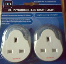 Masterplug Plug-through Energy Saving LED Night Light Automatic Dawn to Dusk 2 Pack