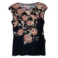 Jacqui E Womens Black Floral Short Sleeve Blouse Size M