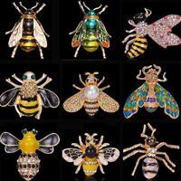 New Honeybee Crystal Pearl Enamel Insect Bee Brooch Pin Costume Womens Jewellery