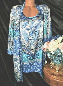 Nightgown, Peignoir Set  XL NWT by Bloom by Jonquil. Paisley,floral,blue. WOW!