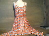 AUDREY 3+1 WOMENS HIGH LOW SHEER LINED DRESS SIZE SMALL ORANGE BLUE WHITE BLACK