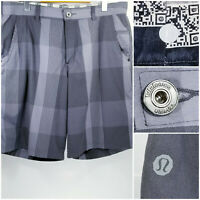 Lululemon Mens Size 38 Shorts Gray Plaid Check